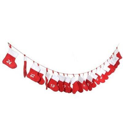 Advent Calendar Chain 55 1/8in 24 Socks Red White Adventskette Santa Claus