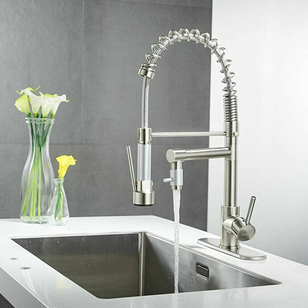 Brushed Nickel Kitchen Sink Faucet Pull Down Sprayer Mixer Tap + 10' 'Cover