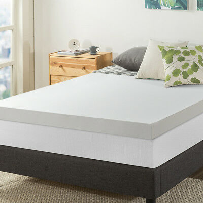 4-Inch Green Tea Infused Memory Foam Mattress Topper with Mesh Zippered Cover