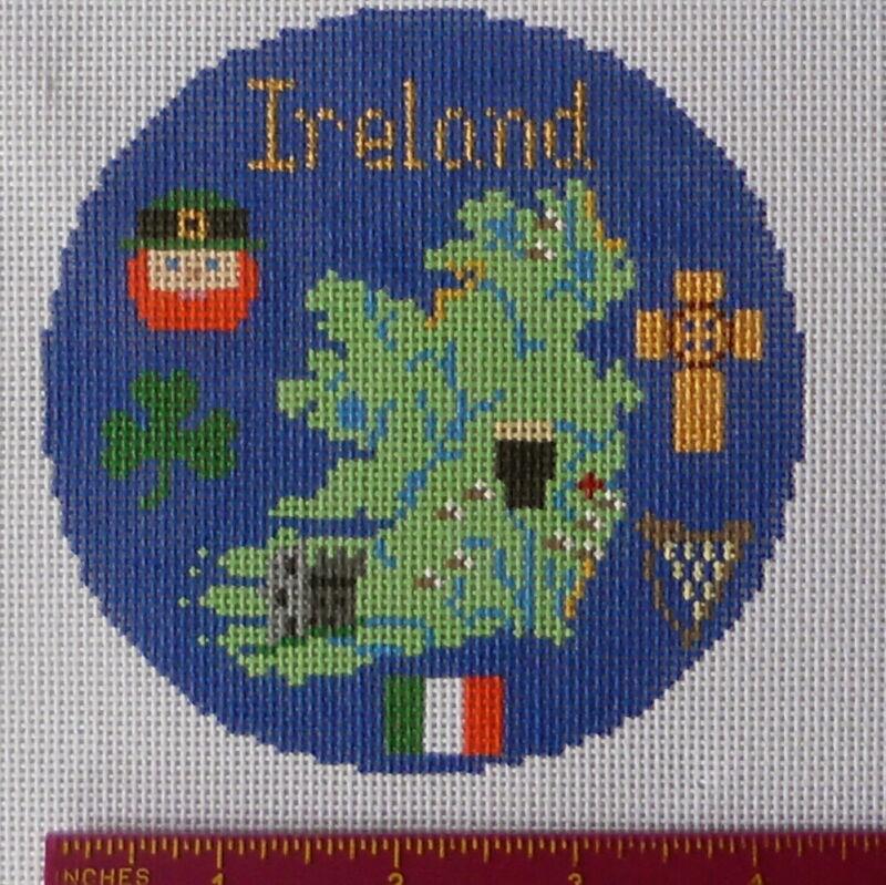 Handpainted needlepoint Canvas Silver Needle Ireland Irish Celtic