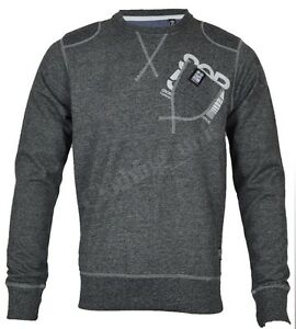 Mens Crosshatch FARCRY Crew Neck Sweatshirt Jumper Top Marl Fleece Patch