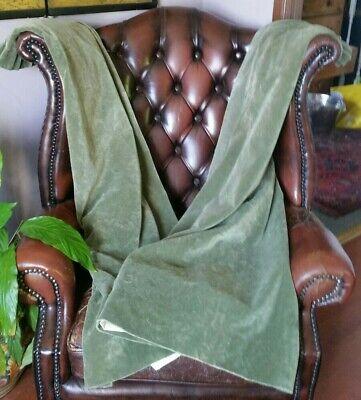 "Pair of Vintage Green cotton Velvet Curtains Each W-46""X L-52""."