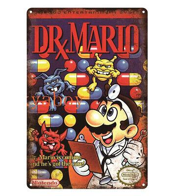 Metal Poster Plate Vintage Retro Poster Video Game Nintendo Nes Dr Mario