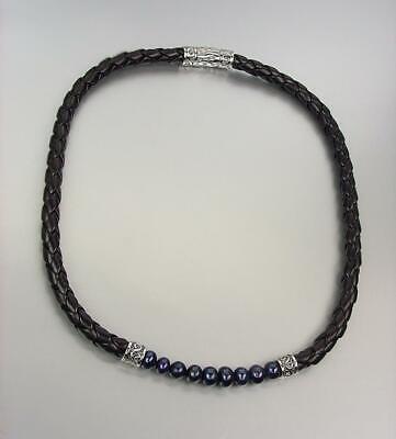 CLASSIC Designer Black Pearls Braid Cord Silver Filigree Magnetic Clasp Necklace