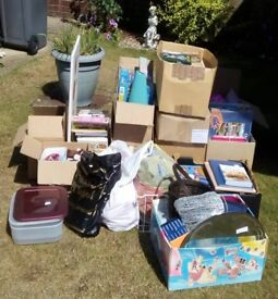 12 boxes of items suitable for car boot sales including household, kids, books, puzzles, accessories