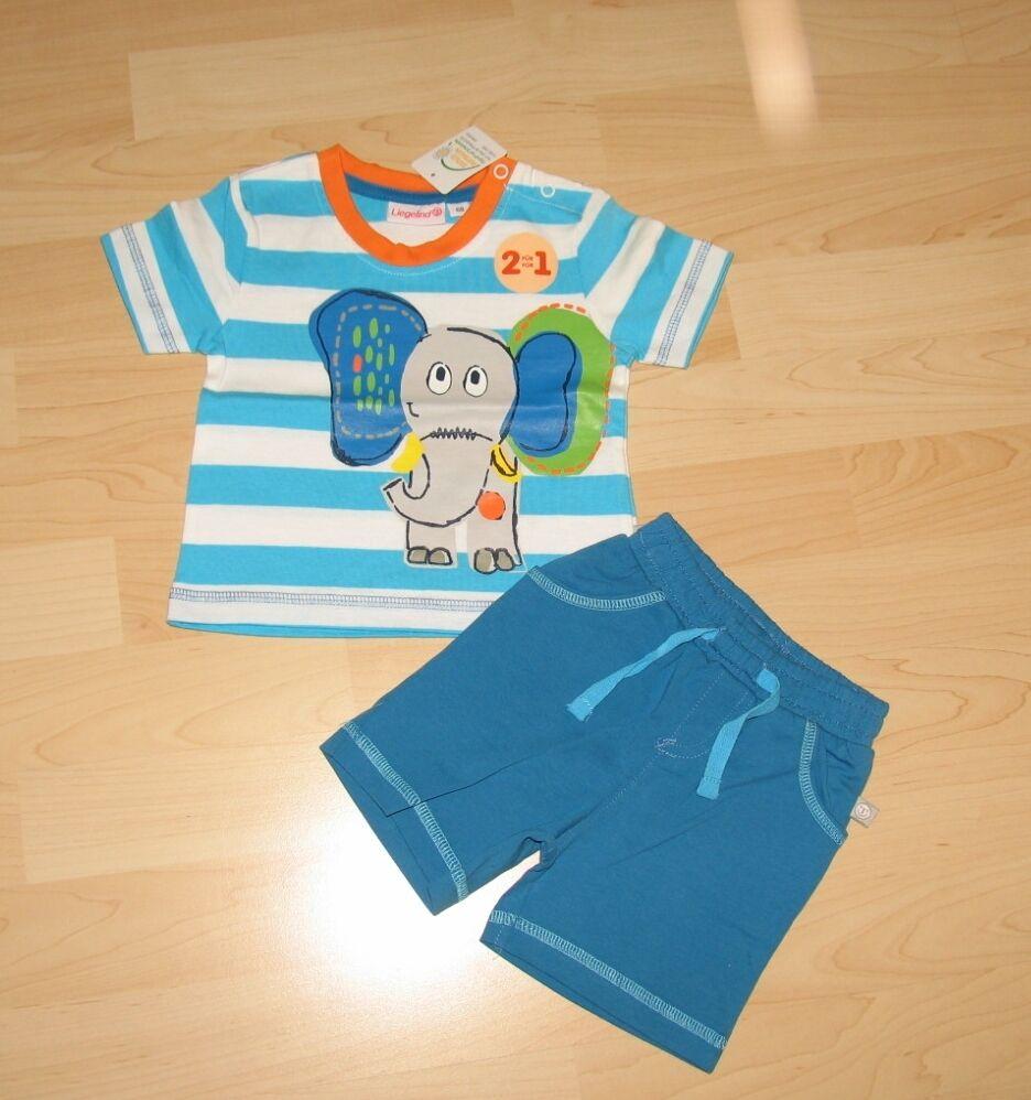 Sommer Set : 2 teilig T-Shirt Shirt - kurze Hose Baby Kleinkind Gr 68 - Elefant