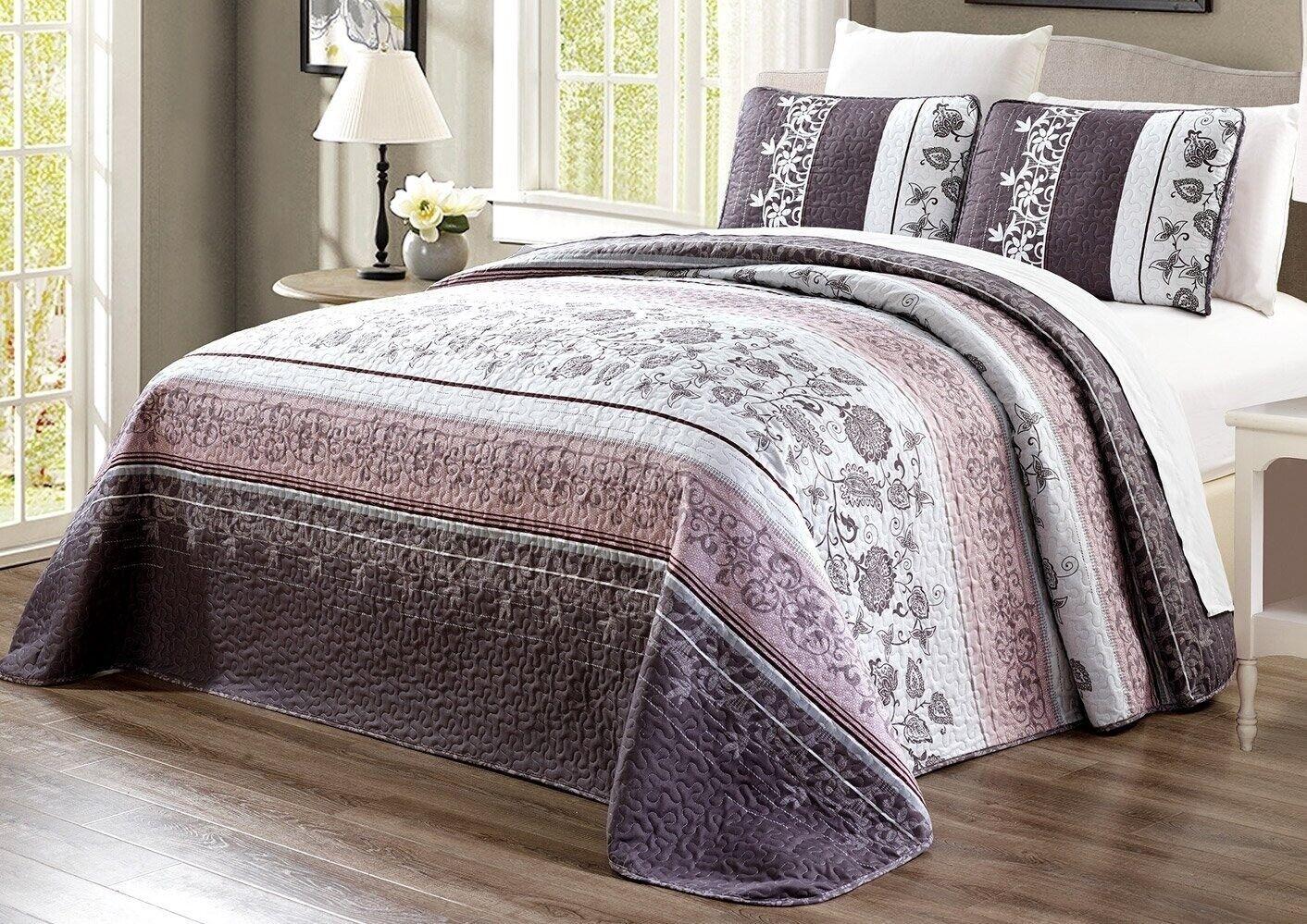 Purple Grey Black Floral Quilt Reversible FULL / QUEEN Size