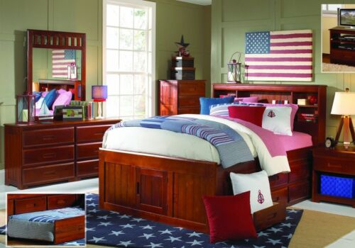 Twin or Full All-Wood Captain's Bookcase Bed with Trundle, &
