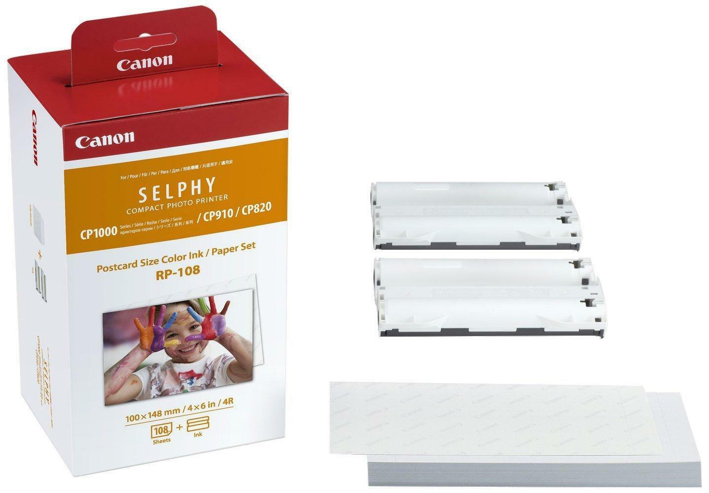 2 Ink Toners // 108 Paper Sheets Compatible with Canon SELPHY CP820 CP1300 Compact Printers CP1200 CP1000 Canon RP-108 // RP108 Color Ink Paper Set CP910