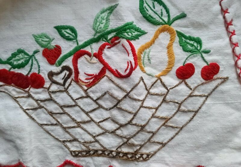 Embroidered toaster cover Fruit vintage mixer Appliance cozy red apples pears
