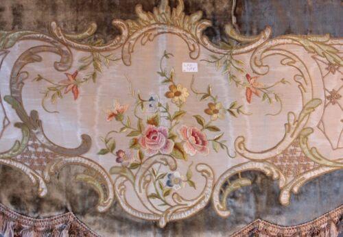 EXQUISITE Old French Silk On Silk Rose Emb Velvet Window Valence Pelmet
