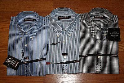 Stripe Non Iron Shirt - NWT Mens KIRKLAND Long Sleeve LS 80/2 Non Iron Blue Stripe Dress Shirt