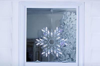 "15"" Shimmering Pure White/Blue LED Lighted Snowflake Christmas Window Silhouette"