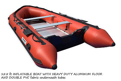 15.5 ft INFLATABLE BOAT SCUBA FISHING DINGHY with Aluminum floor