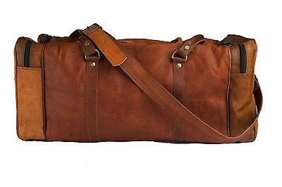 New Big Men's Brown Vintage Genuine Leather Yoga Travel Luggage Duffle gym Bags
