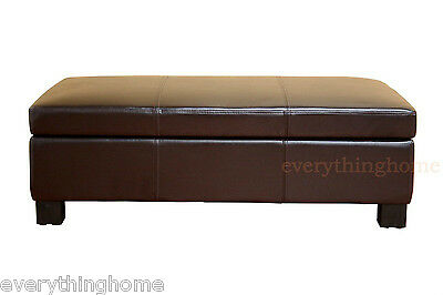 (DARK BROWN LARGE LEATHER STORAGE OTTOMAN RECTANGLE COFFEE TABLE BENCH)