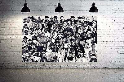 Old School Hip Hop Legends Rap Stars Collage Canvas Print Run DMC, LL Cool 24x18