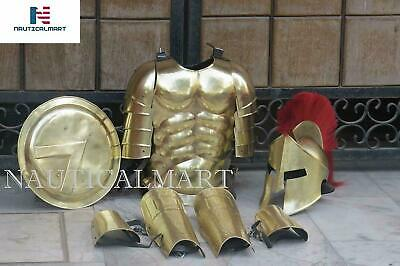 Roman Muscle Armor Set Medieval Cuirass Spartan Helmet, Leg & Arm Guard , Shield