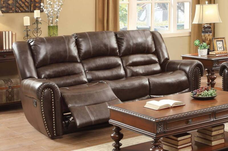 Brown Bonded Leather Reclining Recliner Sofa Couch Living Room Furniture
