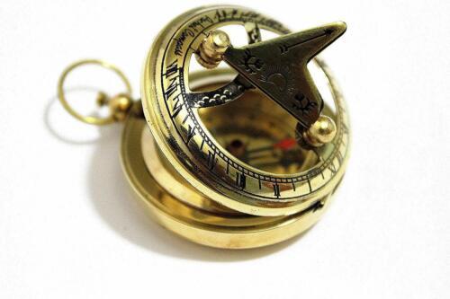 Brass Push Button Direction Sundial Pocket Sundial Compass Christmas Day Giift