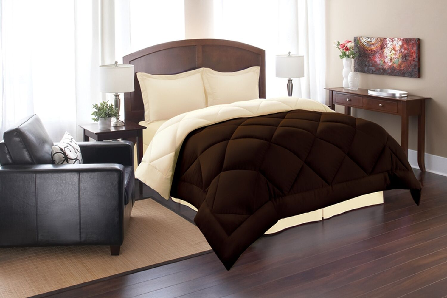 goose down alternative double filled luxury comforter king queen full size. Black Bedroom Furniture Sets. Home Design Ideas
