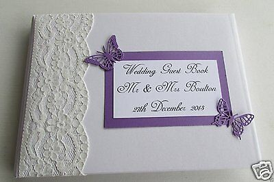 PERSONALISED WEDDING GUEST BOOK ENGAGEMENT VINTAGE WITH LACE AND BOX