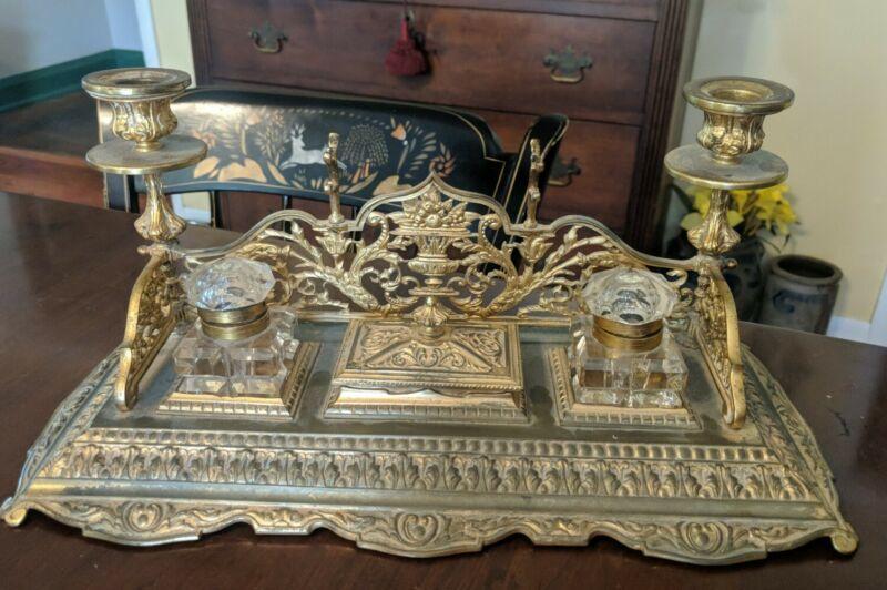 Antique English Gilt Brass Inkstand Standish 1899 Complete Inkwells