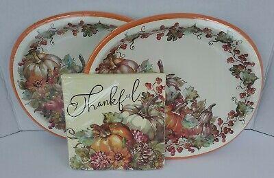 Thanksgiving Pumpkin Fall Paper Plates Napkins Party Supplies 32 Pc
