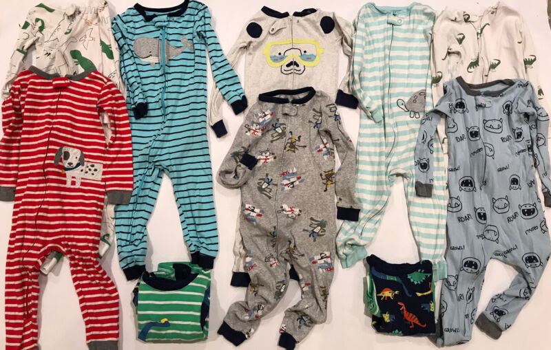 Carters 1- and 2-Piece Toddler Boys LS Pajamas 10 Pairs Size 3T