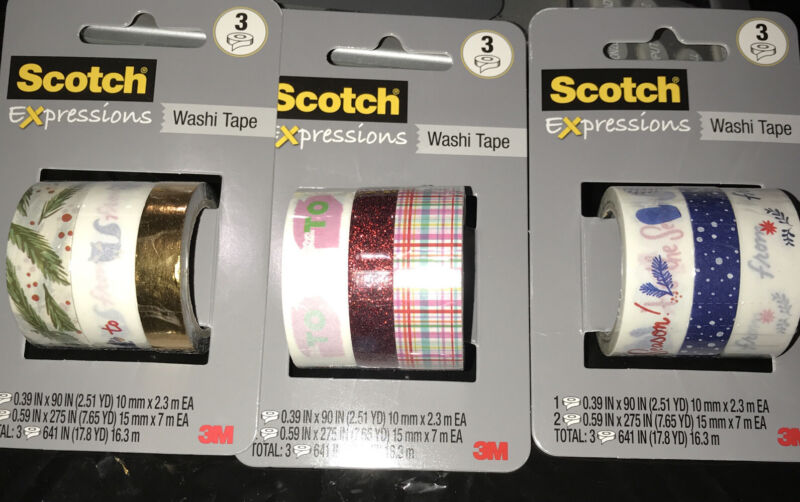 3 PACKS Scotch Expressions Christmas Washi Tape