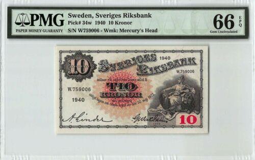 Sweden 10 Kronor Banknote 1940 Pick# 34w PMG GEM UNC 66 EPQ Vintage Rare