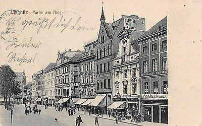 Liegnitz / Schlesien Partie am Ring belebte Strasse, Läden Postkarte 1915