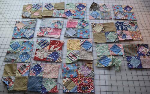 9254  18 antique 1920-30 Center Diamond quilt blocks., bright prints, some Feed