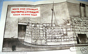 TITANIC-Fold-Out-Deck-Plans-Old-Ship-Retro-Book-Picture-Photo-Antique-Leaflet