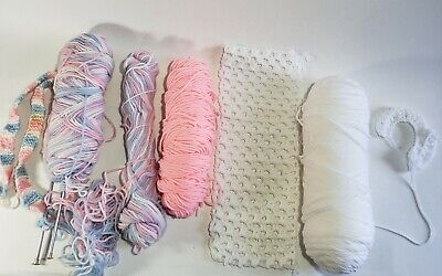 Soft Cotton Yarn Lot of 3 Skeins Light Pink, White, Mixed & 2 Knitting Needles ()