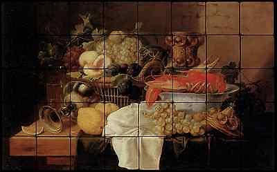 32x20 Hummer II Fruit Still Life Kitchen Backsplash Mural Tumbled Marble Tiles