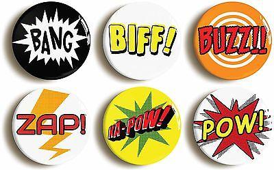 comic superhero badge button pin set (1inch/25mm diameter) pop art biff bang
