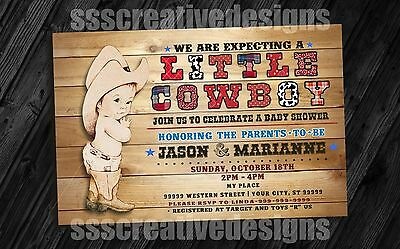 Baby Shower Invitation Boy Little Cowboy Western Rodeo Printed Set of 10 - Western Baby Shower Invitations