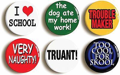 6 x school disco themed badges buttons pins (1inch/25mm diameter) fancy dress