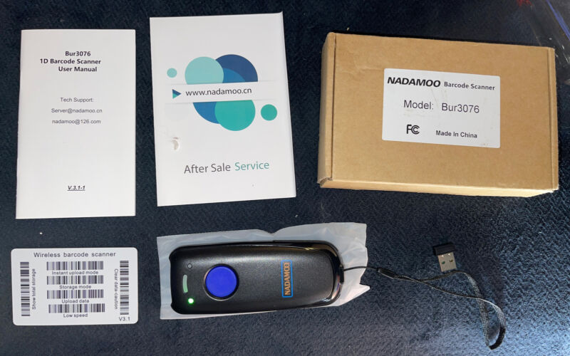 Nadamoo Wireless Barcode Scanner BUR3076 Used,  Scanner With Manual M