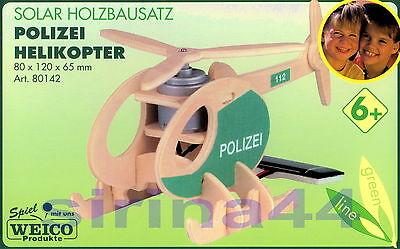 "3D-Puzzle Holzbausatz ""Polizei-Helikopter mit Solarmotorset"" 8x12x6,5 cm ab 6 J."