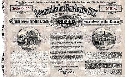 Österreichisches Bau-Los Em Wien 1922 Österreich Wohn- und Siedlungsfonds