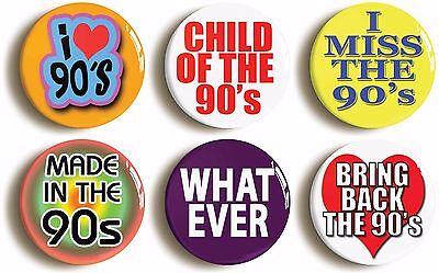 nineties badge button pin set (size is 1inch/25mm diameter) 1990s  fancy dress
