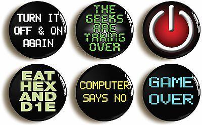 computer geek badge button pin set (size 1inch/25mm diameter) school disco nerd
