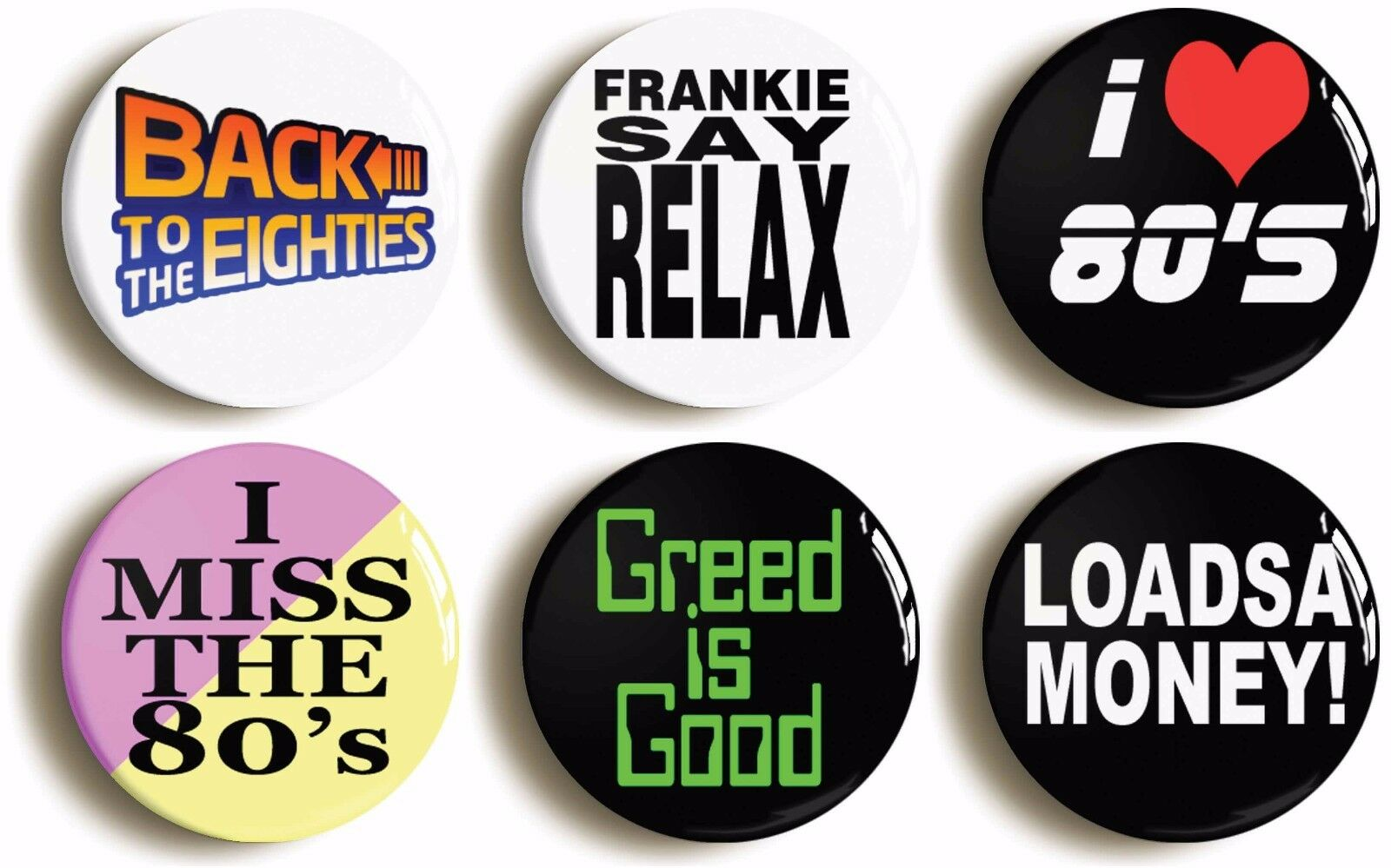 6 x eighties fancy dress badges buttons pins (1inch/25mm diameter) retro 1980s