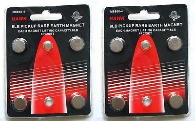 Set Of 8 Neodymium Rare Earth 8lb Pickup Magnets Hawk M8868-4 - Us Shipping