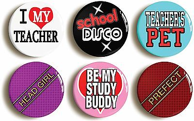 6 x school disco fancy dress badges (1inch/25mm diameter) schoolgirl