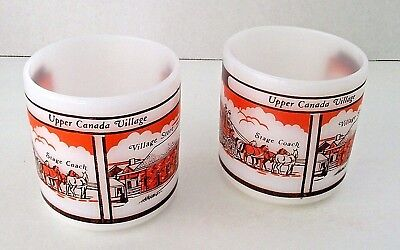 Federal Glass Stage Coach Store Upper Canada Village Mug Vintage Lot 2 Cups