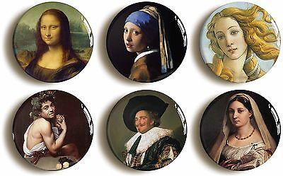 6 x old masters renaissance badge button pins da vinci vermeer hals raphael