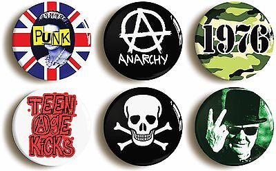 6 x punk rock badges buttons pins (1inch/25mm diameter) seventies fancy dress